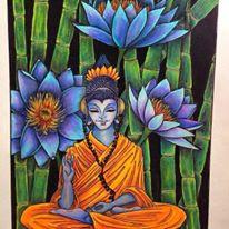 """Blissful Buddha"" Multimedia Painting"