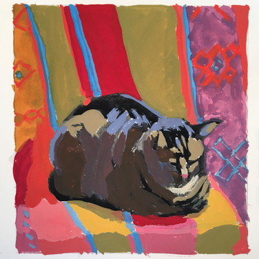 """Favorite Spot,"" Gouache in Sketchbook, Painted from life/live cat. Collection of the Artist."