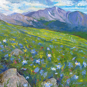 Alpine Meadow, Oil on Canvas,  36 x 36, SOLD