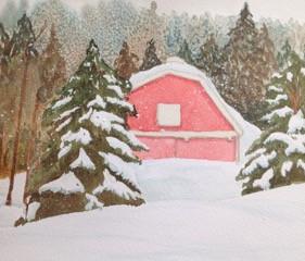 "Winter Barn, watercolor, 8"" x 10"", $200."