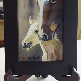 """""""Mother's Love"""" 3"""" x 5"""" mini-reverse painting on glass"""