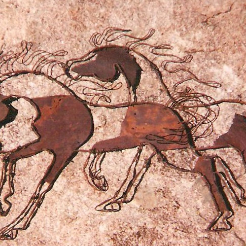 """""""3 Horse Montage""""barbed-wire and rusted metal wall art, 18"""" x 36"""""""