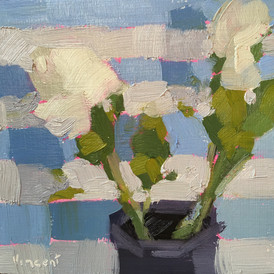 """""""Blue Stripe,"""" Oil on Wood, Collection of the Artist."""