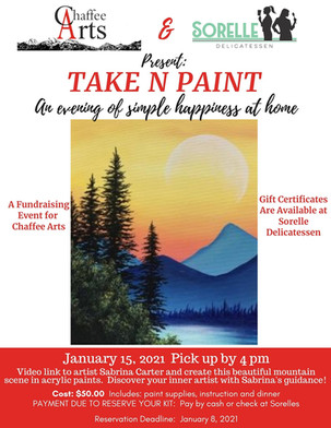 """Chaffee Arts Partners with Sorelle's Delicatessen for """"Take N Paint"""" Fundraising Event"""