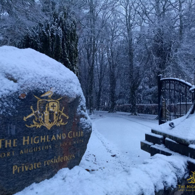 Snow covered welcome stone