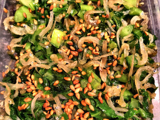 蕪の葉とジャコの胡麻油炒め