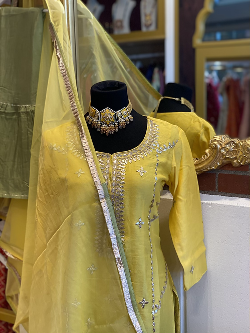 Yellow gotta patti suit comes with Mehndi sharara