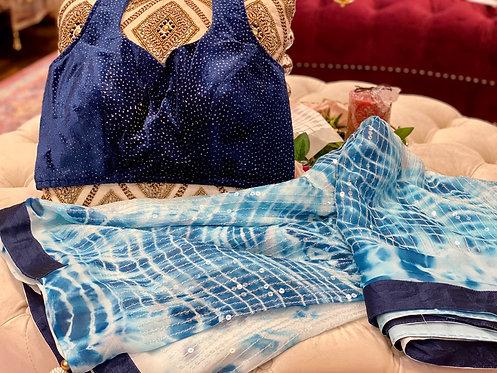 Sequins Saari with velvet blouse