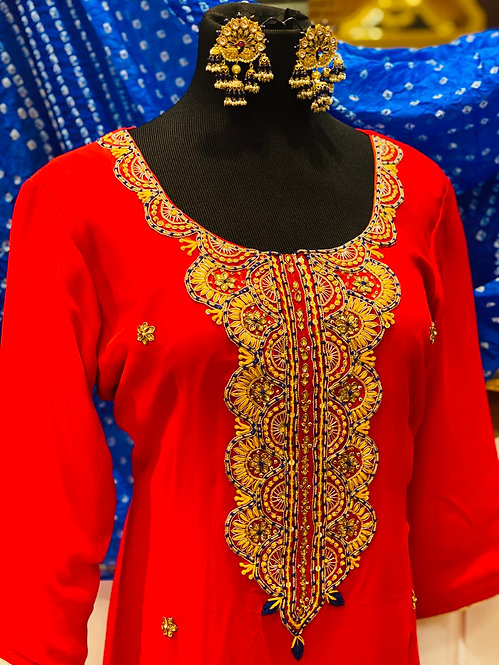 Gorgette  kurta with heavy embellishment on neck