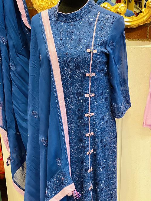 High neck designer Chikenkaari kurta with pearl work !