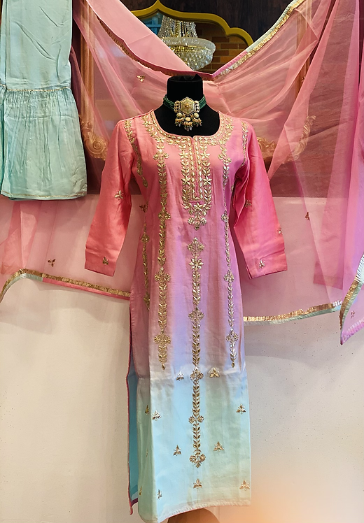 Pink kurta with gotta patti handwork all over comes with mint sharara