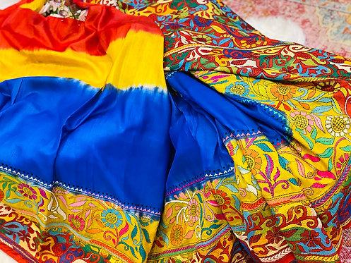 Desingner pure silk Katha embroidery saari in tri colour