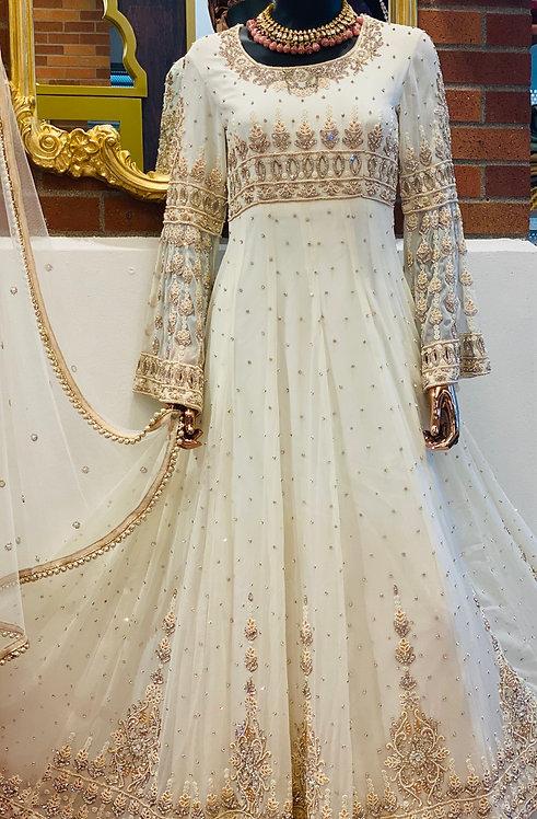 Desingner white hand embellished Anarkali