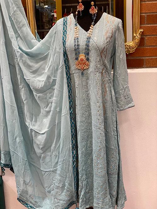 Powder color Chikankaari Anarkali suit
