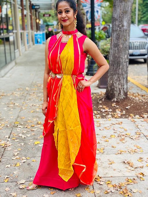Pari series two layered hot pink and yellow beautiful neckline dress .
