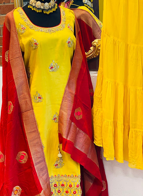 Yellow Sharara Suit With Deep Red Shaded Banarsi weaving  Dupatta !!!  MORE DETA