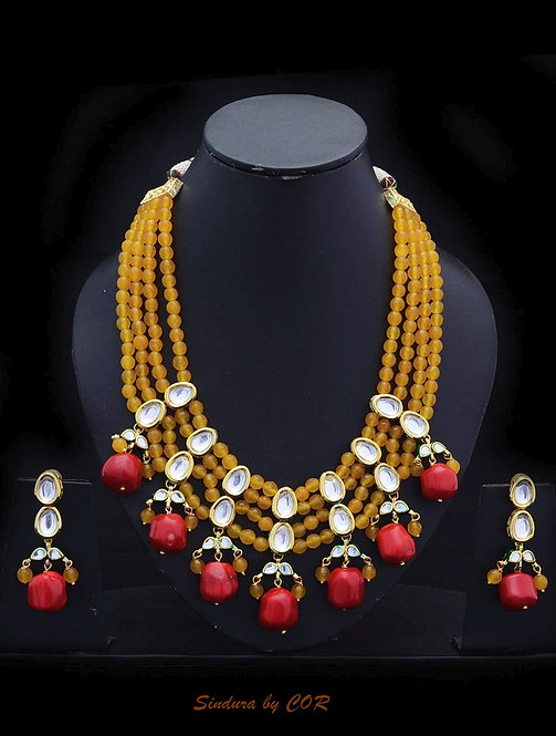 Natural Red Stone with Yellow beads