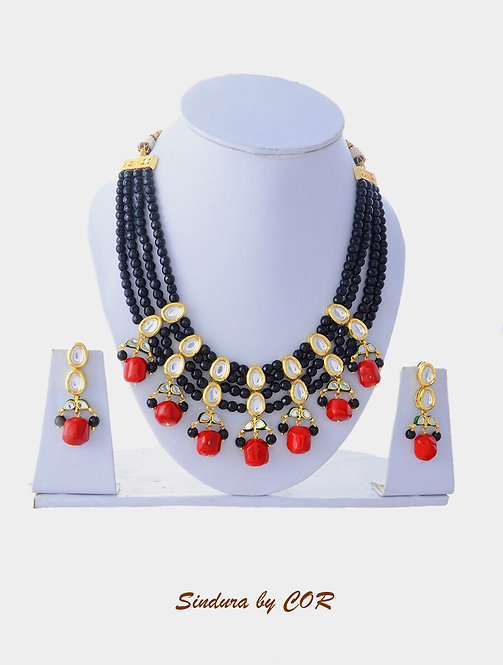 Natural Red Stone with Black beads