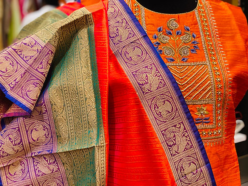 Rangrez series orange with blue and purple constrast dupatta