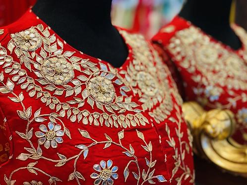 Pure gorgette Anarkali with jacket full of gotta patti hand work