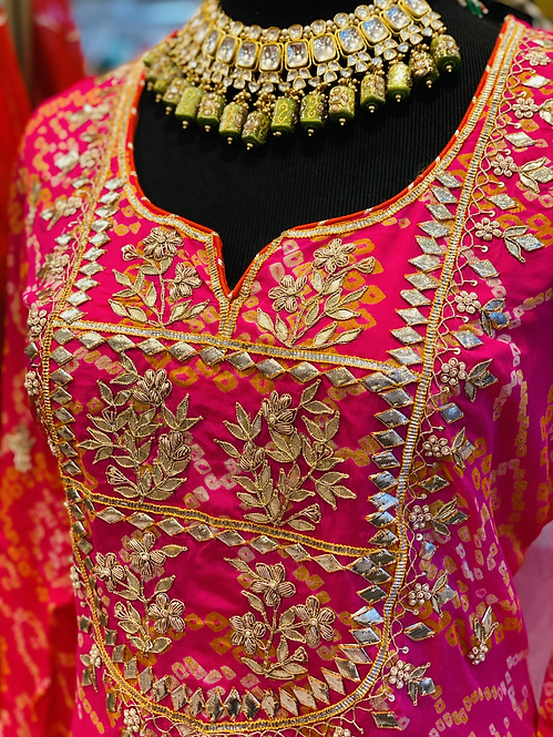 Pure bandhani gorgette suit with gotta patti work with sharara