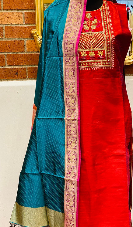 Rangrez series red suit with teal banarsi dupatta