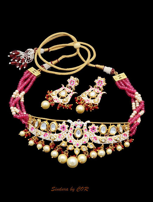 Meenakari Choker with pink beads