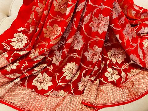 Pure khaadi gorgette bright red full jaal weaving