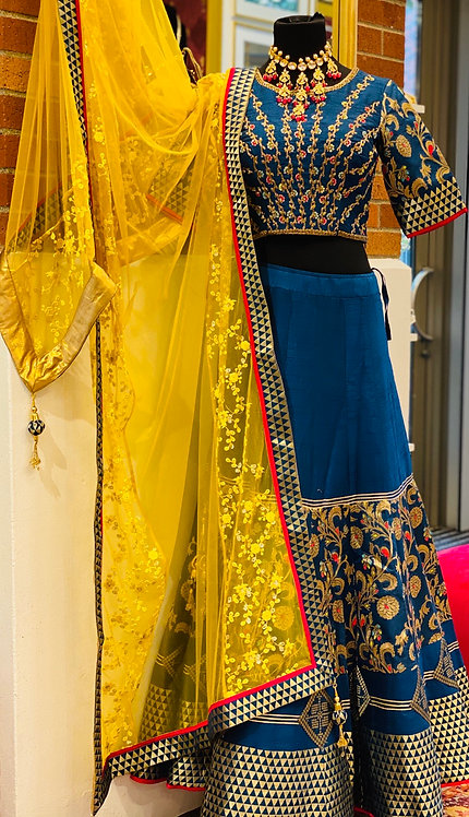 Raw silk designer Lehnga with fully handwork embroidery on blouse