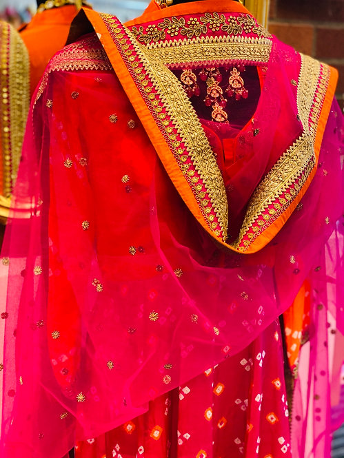 Orange and hot pink badhani Anarkali suit