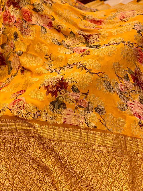 Mustard yellow Floral Jaal all Over !