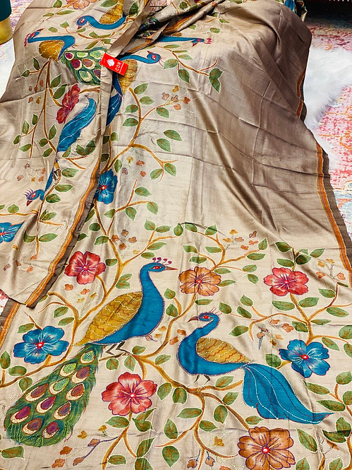 Pure silk hand saari comes with hand painting and hand embroidery