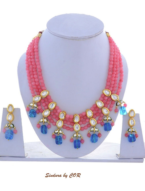 Natural Stone with Pink beads