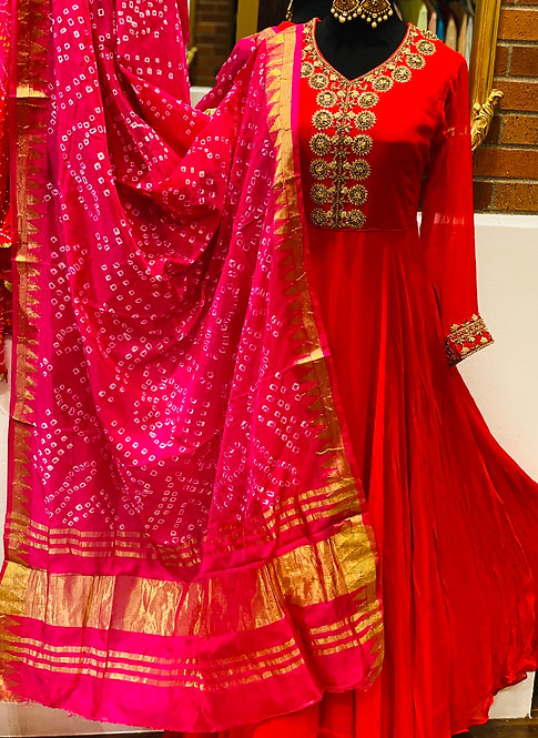 Gorgette red floor length Anarkali