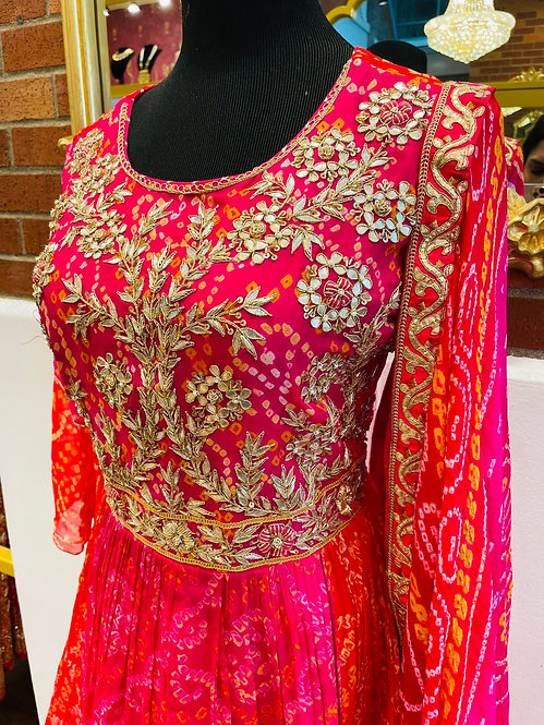Pure bandhani suit with hand work of gotta patti
