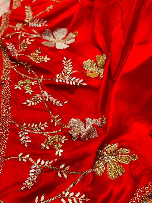 Italian silk pure red saari with embroidery