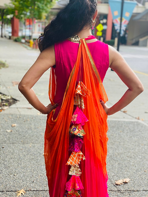 Pari series hot pink and orange dress comes with back huge tussals