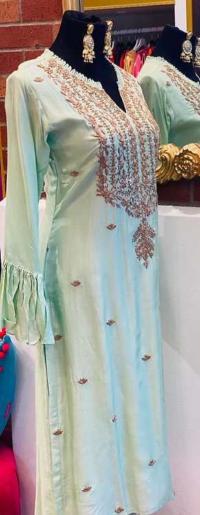 Light Rama green hand embroidery neck and bust line kurta comes with sharara