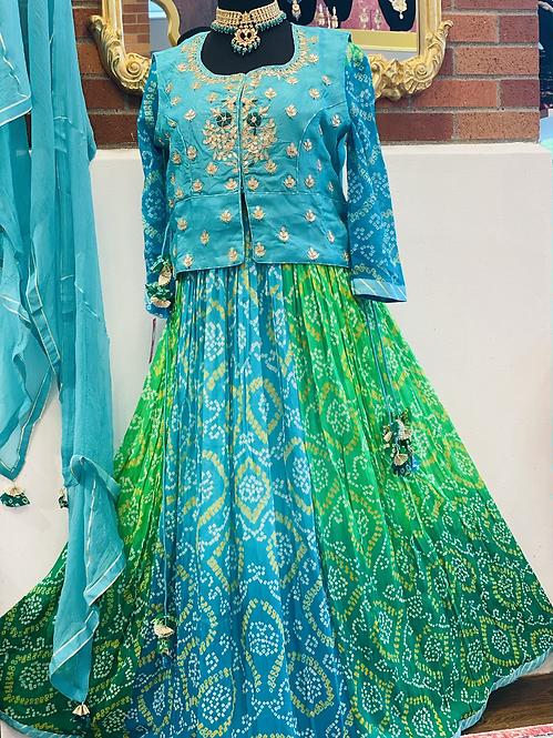 Pure gorgette Anarkali with gotta patti handwork jacket