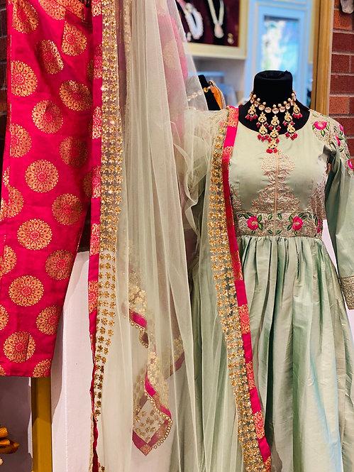 Pista Green Suit With Pink Dupatta Adorn In Zardosi And Sequin Work Online - Kal