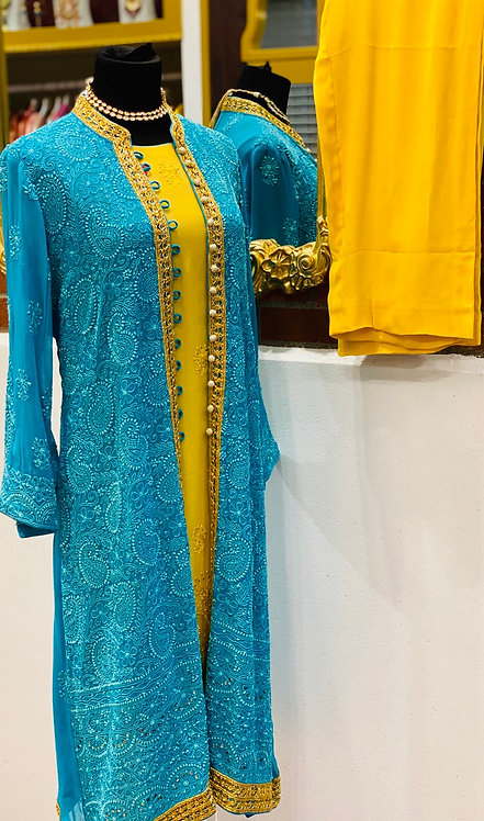 Yellow sleeveless georgette kurta comes with firozi  Chikankaari jacket