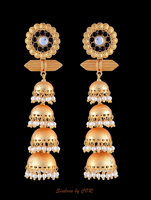 Four layer brass and beads earing