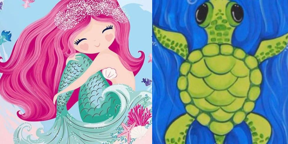 Turtles and Mermaids Painting