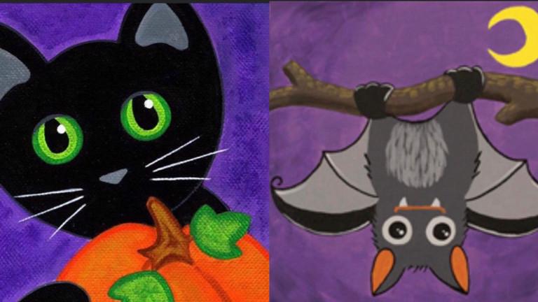 Kitty Cat Pumpkin/ Hanging Bat Painting