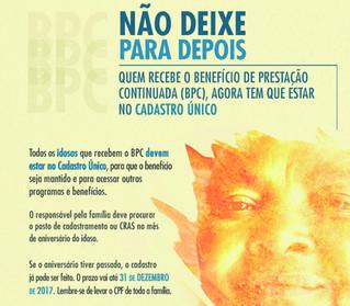 Deficientes e idosos que recebem BPC têm até 31 de dezembro para inscrição no CadÚnico