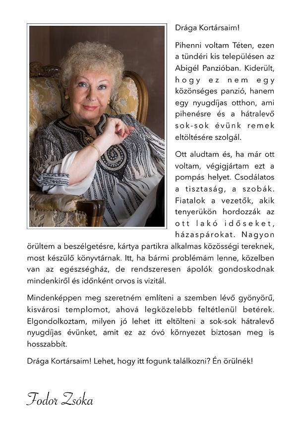 Fodor Zsóka az Abigél Időek Panzióját ajánlja