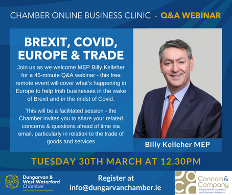Dungarvan & West Waterford Chamber Of Commerce Online Business Clinic 30th March 2021