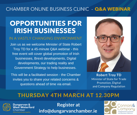 Dungarvan & West Waterford Chamber Of Commerce Online Business Clinic 4th March 2021
