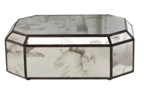 ANTIQUE MIRRORED OCTAGONAL BOX