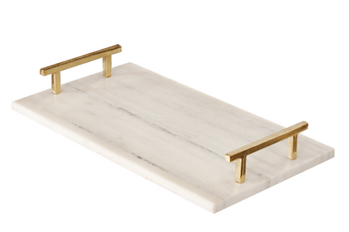 WHITE MARBLE TRAY WITH BRASS HANDLES